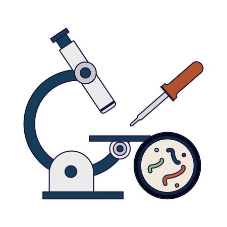 Microscopio de ciencia comprobando bacterias y cuentagotas ilustración vectorial diseño gráfico