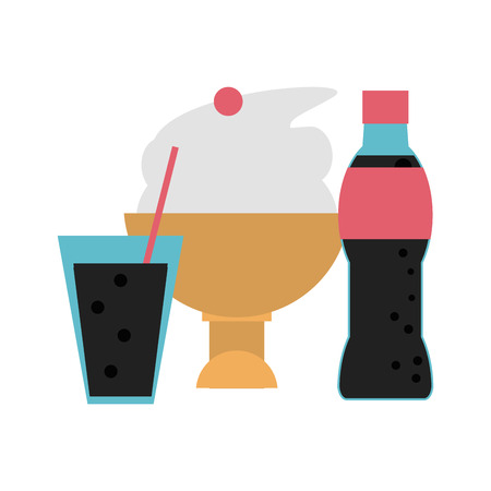 ice cream cup and soda bottle and cup vector illustration graphic design