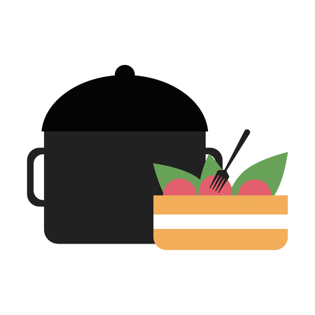 Salad in bowl and kitchen in pot vector illustration graphic design Illustration