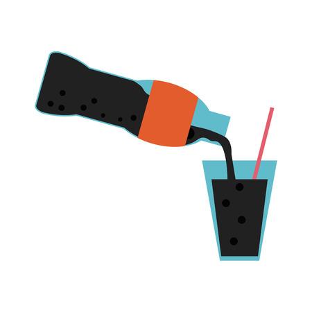 Soda bottle serving cup vector illustration graphic design