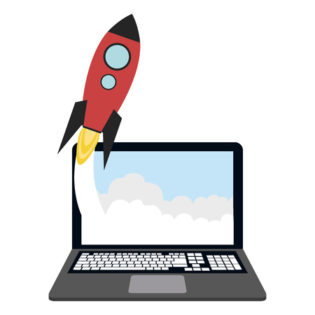 Online startup business from laptop with spaceship taking off vector illustration graphic design