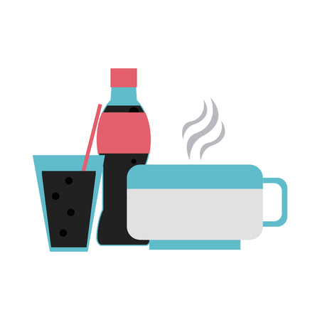 Soda cup bottle and coffee cup vector illustration graphic design Illustration