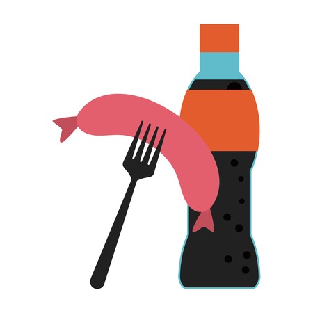 Soda bottle and sausage on fork vector illustration graphic design Illustration