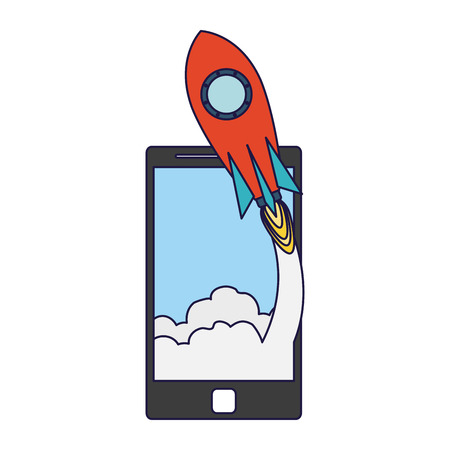 Online startup business from smartphone with spaceship taking off vector illustration graphic design