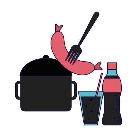 Sausage and soda bottle and cup with kitchen pot vector illustration graphic design Illustration