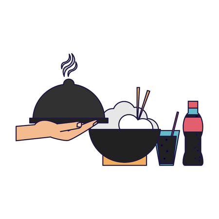 hand with dish done and rice bowl with soda vector illustration graphic design