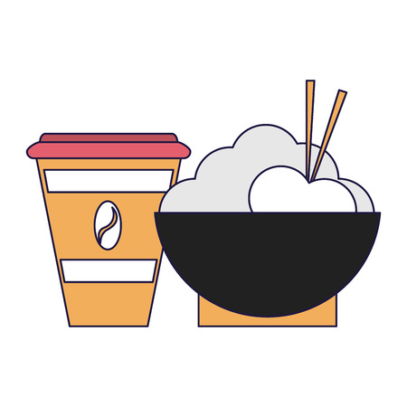 healthy food rice bowl and coffee cups vector illustration graphic design Vettoriali
