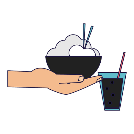 hand with ric bowl and soda cup vector illustration graphic design