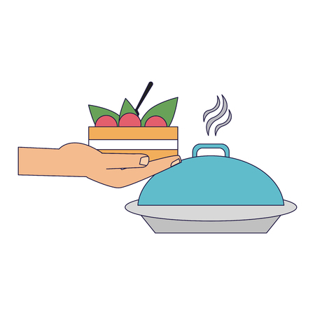 hand holding salad and dish dome vector illustration graphic design