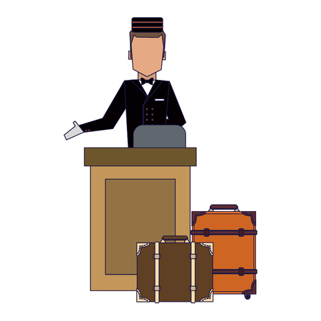 Bellboy with luggage vector illustration graphic design