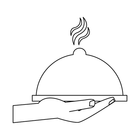hand with dish dome vector illustration graphic design