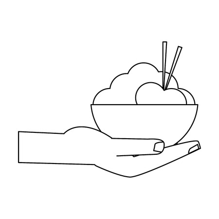 hand with rice in bowl vector illustration graphic design Illustration