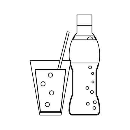 soda bottle and cup with straw vector illustration graphic design Çizim