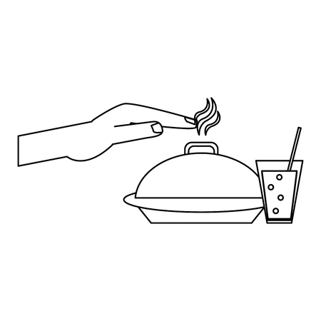 hand on hot dish dome and soda cup vector illustration graphic design