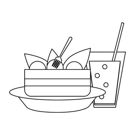 Salad in biwl and soda cup vector illustration graphic design