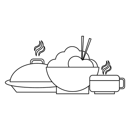 Rice bowl and dish dome with coffee cup vector illustration graphic design