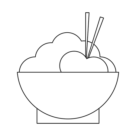 rice biwl with chopsticks vector illustration graphic design