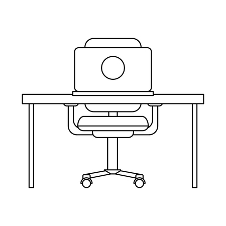 Office with computer on desk and elements vector illustration graphic design  イラスト・ベクター素材