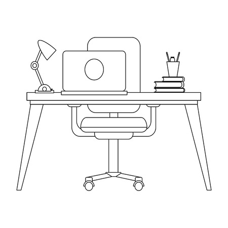 Office with computer on desk and elements vector illustration graphic design Vectores