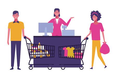 Couple shopping at supermarket cartoons vector illustration graphic design Ilustração Vetorial