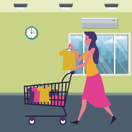 woman with shopping cart and clothes at supermarket scenery cartoons vector illustration graphic design
