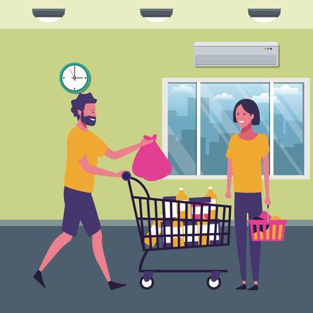 Pareja con carrito de compras y productos en el supermercado paisaje dibujos animados ilustración vectorial diseño gráfico