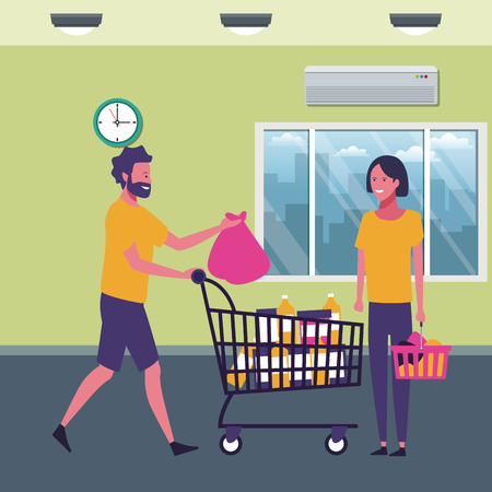 couple with shopping cart and products at supermarket scenery cartoons vector illustration graphic design