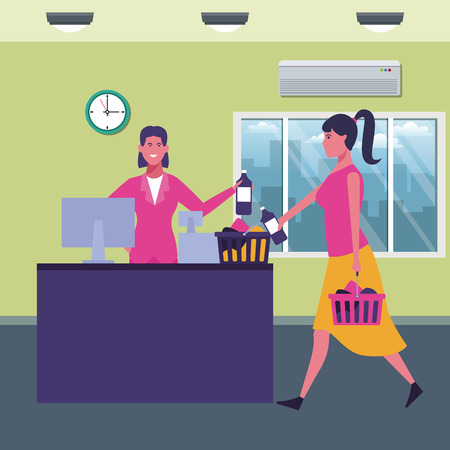 woman with shopping basket with products at supermarket scenery cartoons vector illustration graphic design