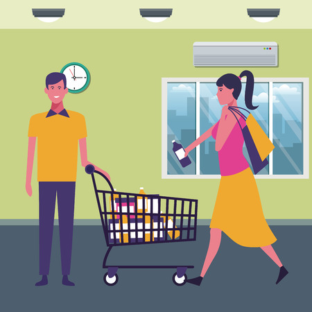 couple with shopping cart with products at supermarket scenery cartoons vector illustration graphic design Ilustração
