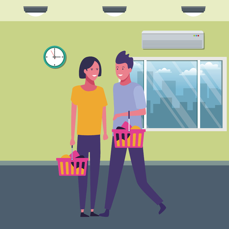 couple with shopping baskets at supermarket scenery cartoons vector illustration graphic design