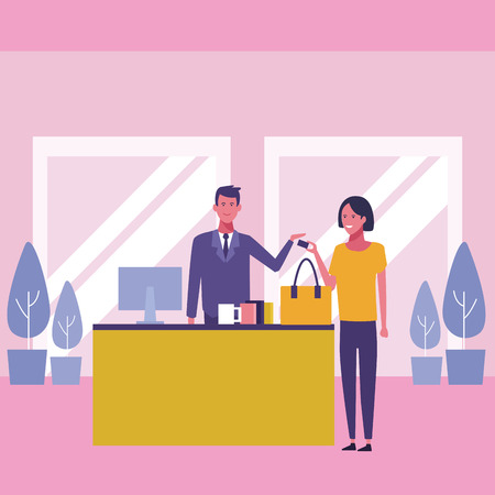 Woman shopping at supermarket mall vector illustration graphic design Stock Illustratie