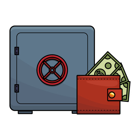 Strongbox with cash inside wallet vector illustration graphic design