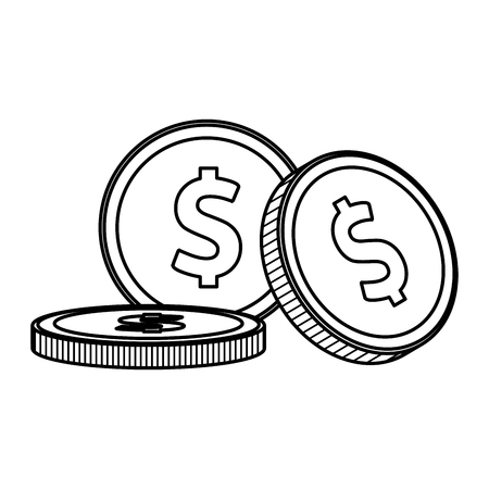 coins finance icon some drawing in white background vector illustration graphic design Stock Vector - 113178019