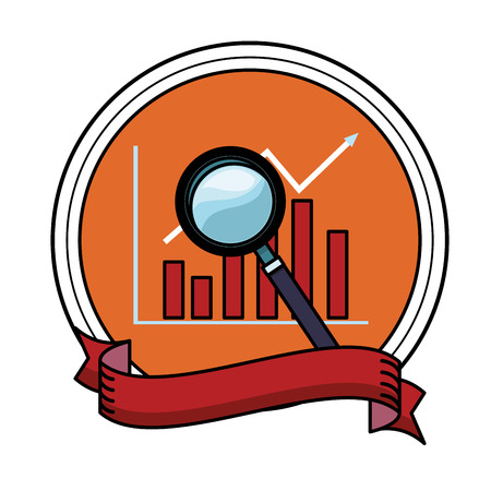 magnifying glass icon with data chart round icon colorful in white background vector illustration graphic design