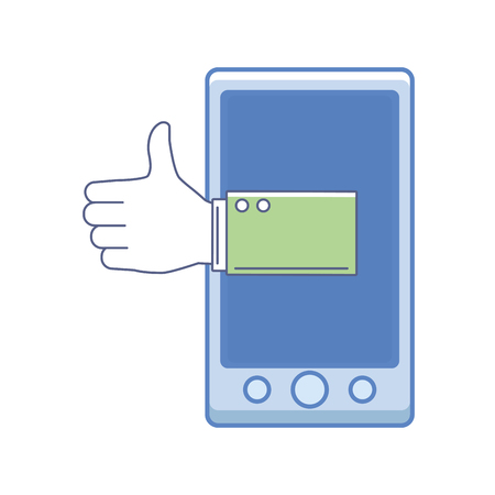 smartphone assistance icon thumbs up color in white background vector illustration graphic design