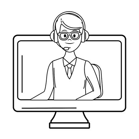 costumer services assistant man with headset going out of computer drawing in white background vector illustration graphic design Stock Illustratie