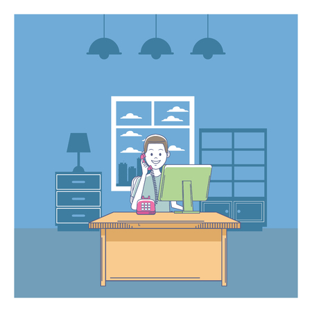 customer support services man with telephone and computer at office window vector illustration graphic design Illustration