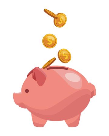 Sparschwein-Symbol mit Münzen bunt in weißem Hintergrund-Vektor-Illustration-Grafik-Design