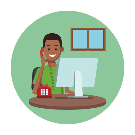 costumer support services man with telephone and computer at office window round icon colorful vector illustration graphic design Illustration