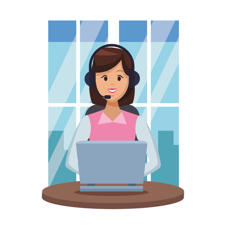 costumer services assistant woman with headset and computer at office window vector illustration graphic design
