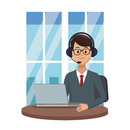 costumer services assistant man with headset and computer at office window colorful vector illustration graphic design