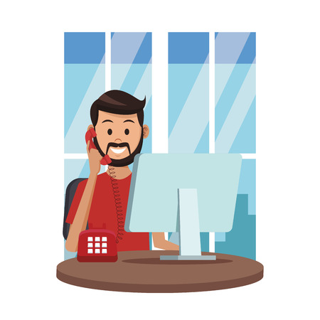 costumer support services man with telephone and computer at office window colorful vector illustration graphic design
