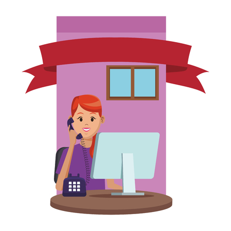 costumer support services woman with telephone and computer at office window colorful vector illustration graphic design Illustration