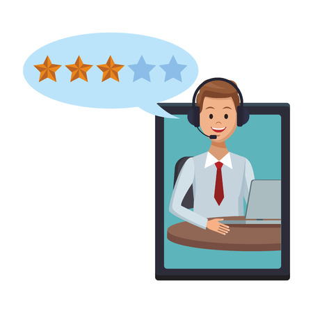 tablet assistance icon with assistant man headset and speech bubble with star vector illustration graphic design