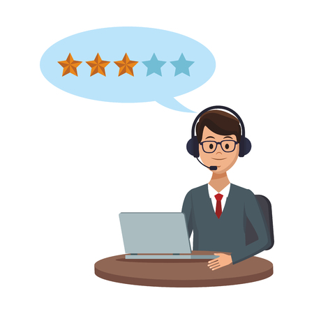 costumer services assistant man with headset and computer speech bubble stars vector illustration graphic design