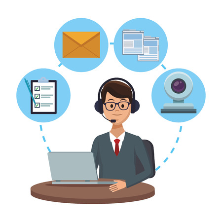 costumer services assistant man with headset and computer with assistance tools camera checklist vector illustration graphic design Foto de archivo - 113179025