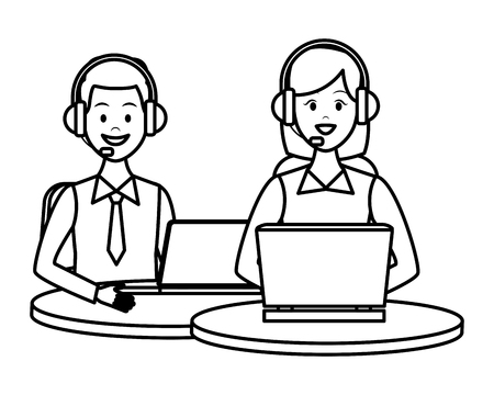 costumer services assistant group with headset and computers drawing in white background vector illustration graphic design