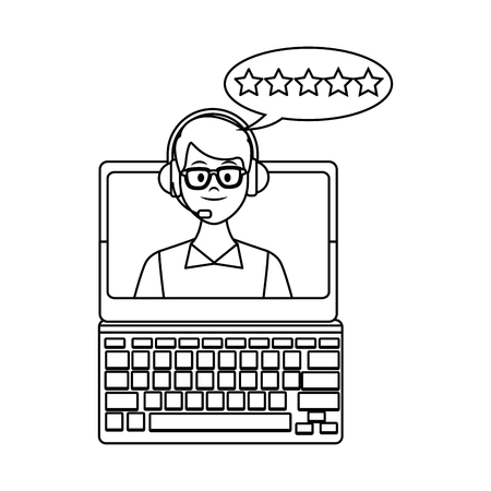 computer assistance icon with assistant headset and stars drawing in white background vector illustration graphic design Illustration