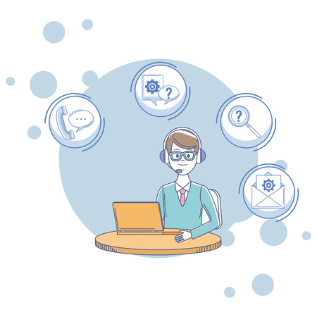 costumer services assistant man with headset and computer auricular envelope magnifying glass vector illustration graphic design