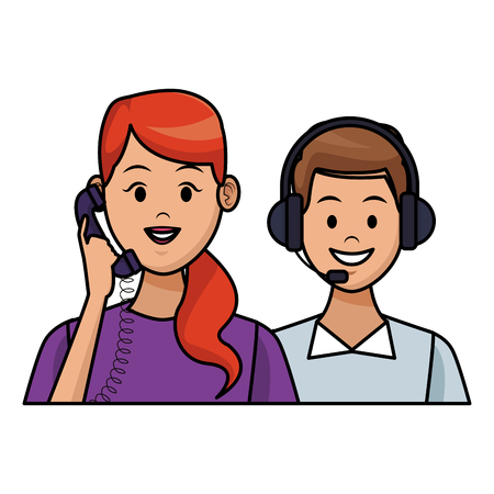 costumer support services woman with telephone assistant headset colorful in white background vector illustration graphic design
